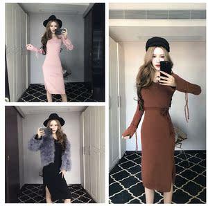 实拍5589新款V领喇叭袖针织连衣裙修身显瘦收腰a字裙