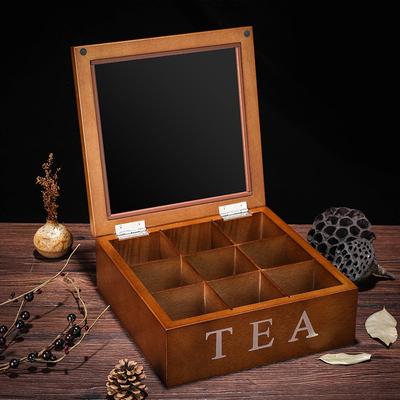 九格竹子制茶叶盒天窗袋装咖啡收纳盒竹木质茶叶罐零食收纳储物盒