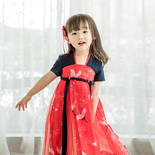 萌乎原创改良汉服仙鹤女童齐胸襦裙中国风童装 仙女连衣裙超仙夏款