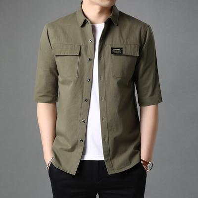 纯棉短袖七分袖衬衫男夏季韩版潮流男士衬衣外套薄款男装工装上衣
