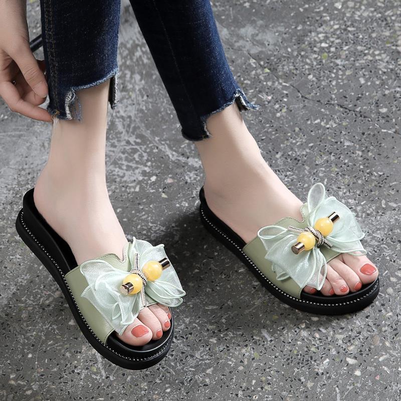 拖鞋女外穿2020年新款夏季时尚百搭鞋拖厚底松糕凉拖鞋蝴蝶结