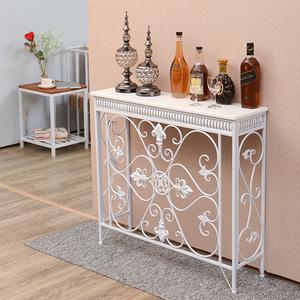 欧式条桌案台墙边桌柜轻奢风铁艺北欧装饰雕花暖气片遮挡罩玄关桌