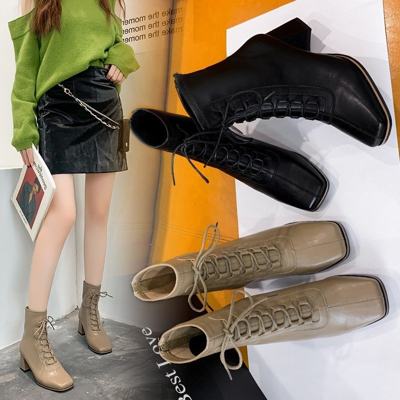 Chelsea short boots women 2021 new thick heel lace up back zipper thin boots spring and autumn Martin boots winter high heels