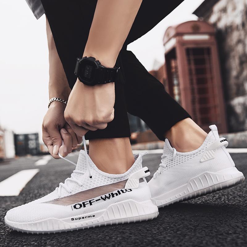 男鞋春季新款韩版透气飞织运动鞋跑步鞋百搭情侣休闲鞋男生潮板鞋