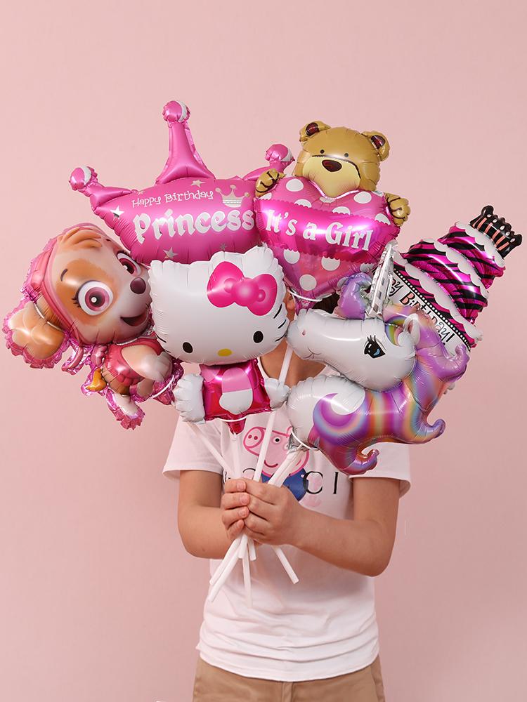 宝宝满月百天布置用品儿童生日派对装饰创意手持迷你卡通铝膜气球