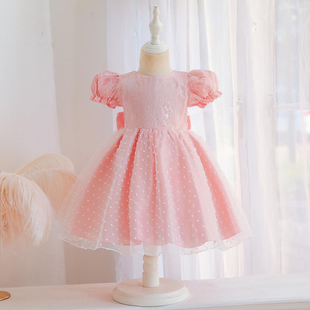 2021广州新品童装婴童女童连衣裙蓬蓬网纱儿童裙子纯色包邮表演服