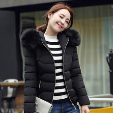 实拍2018冬季新款韩版修身潮流大毛领短款羽绒服棉衣女羽绒服女