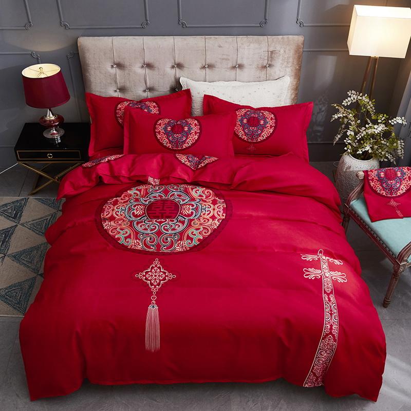 Wedding four piece set of cotton pure cotton wedding big red dragon phoenix Quilt Set Wedding bedding set bedding