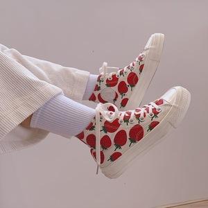 领5元券购买许刘芒2019春季新款日系ins少女可爱百搭大草莓印花高帮帆布鞋女