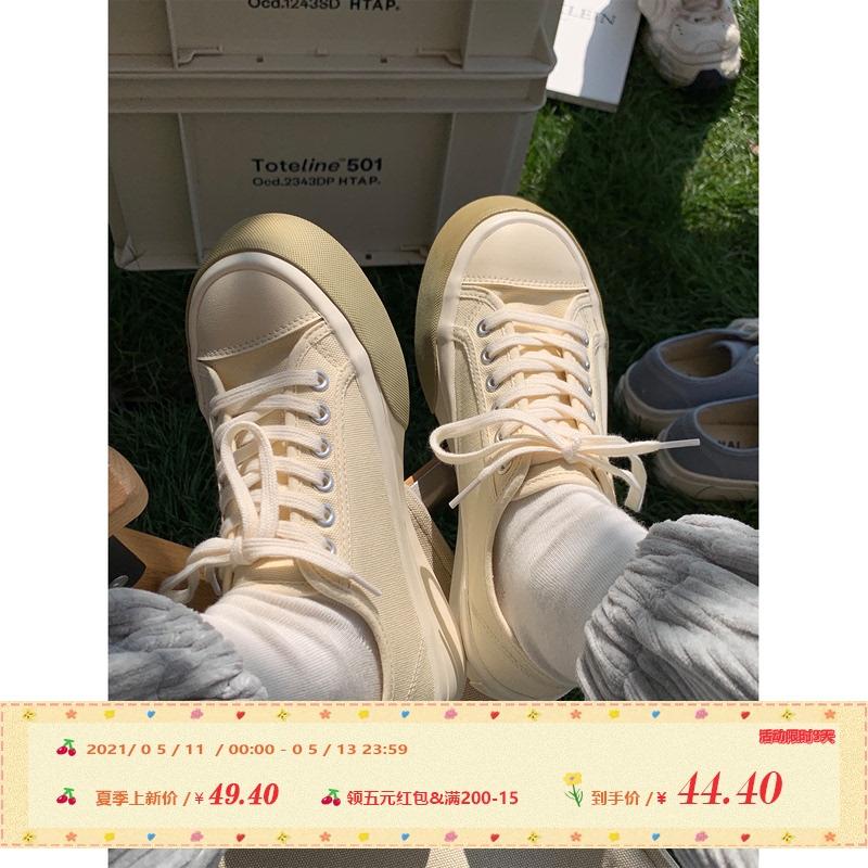 许刘芒2021早春简约风日系厚底大头帆布鞋学生日常可爱百搭小白鞋