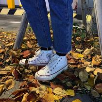许刘芒韩国街拍万年经典款百搭复古1970s复刻白色高帮帆布鞋女