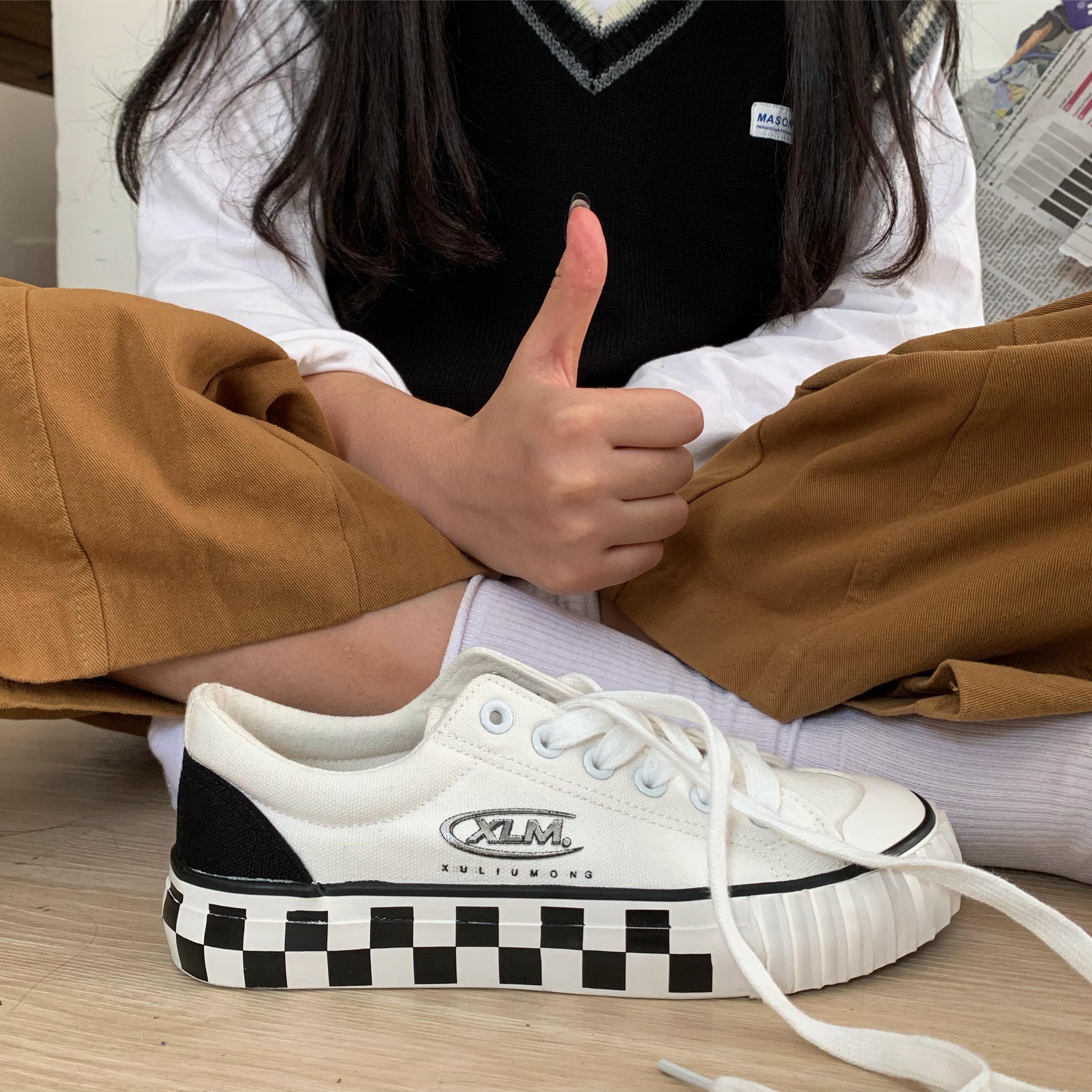 百搭秋季学生韩版帆布鞋小白鞋ins印花3D象征许刘芒成员身份