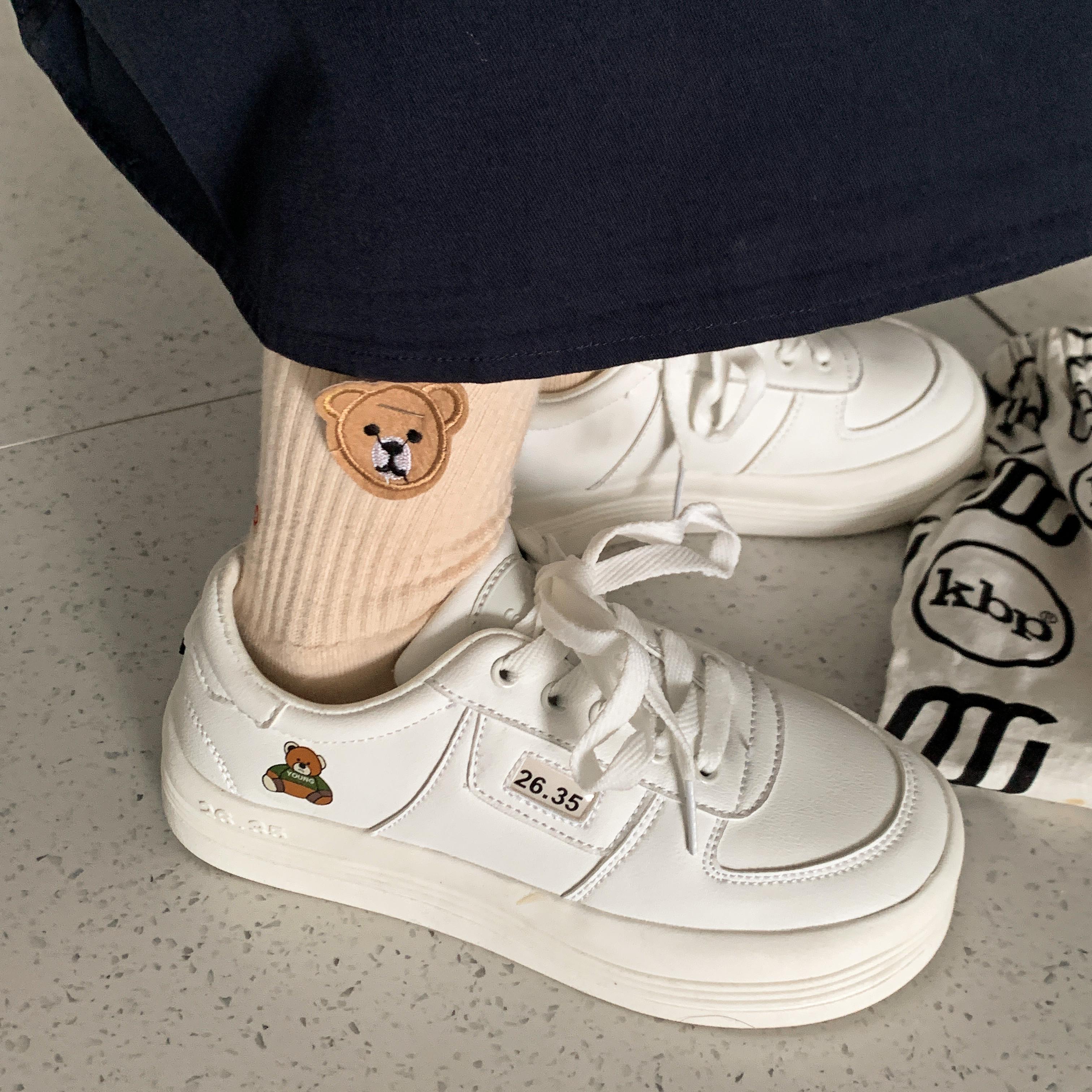 许刘芒 可爱丑萌百搭日系小白鞋帆布鞋运动鞋小熊大头娃娃厚底鞋
