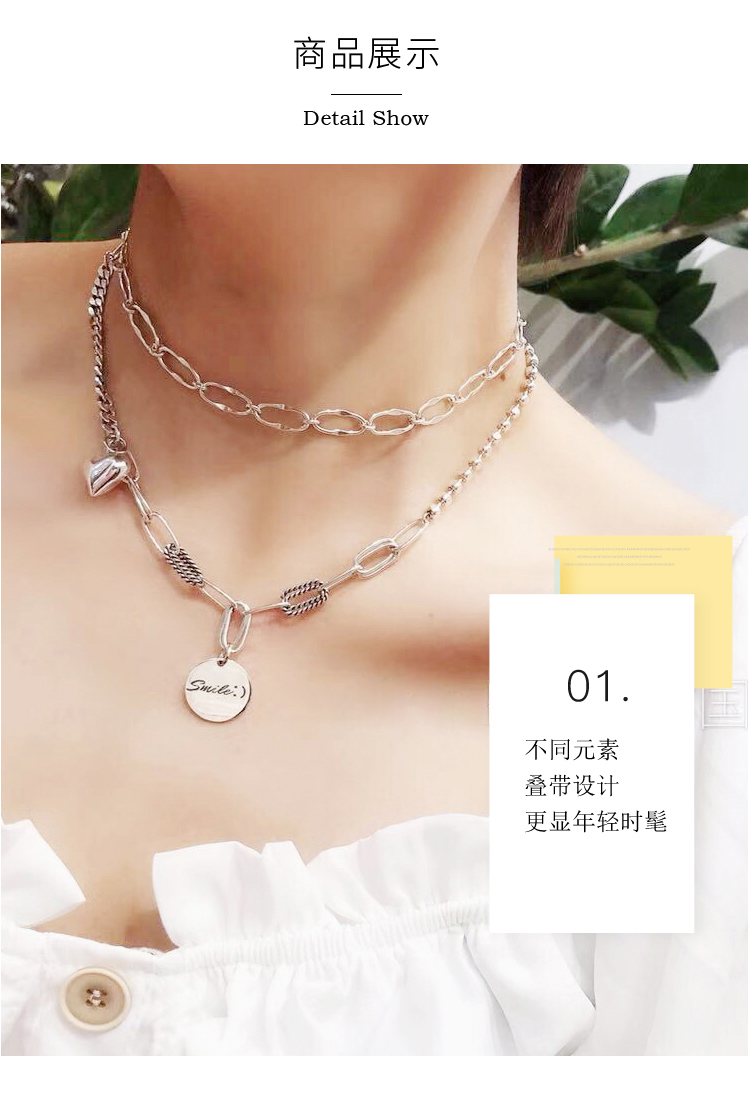 South Korea East Gate S925 Sterling Silver Necklace woman multi-layer love Coin Pendant clavicle chain bracelet simple Earrings