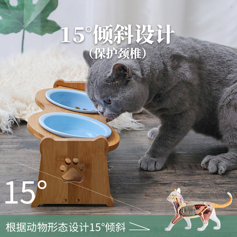 Cat bowl ceramic protection cervical spine single and double bowl cat food basin slant mouth double layer double bowl lovely cat bowl pet products