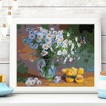 装饰画高清印制油画芯布画竖款菊芋花黄色鸢尾花向日葵莫奈