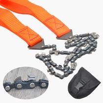 野外便携式手拉锯锰钢链条锯子户外救生工具多功能伐木线锯锯木链