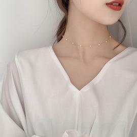 珍珠锁骨链女ins简约气质网红爱心小众设计项链短款颈链项圈颈饰