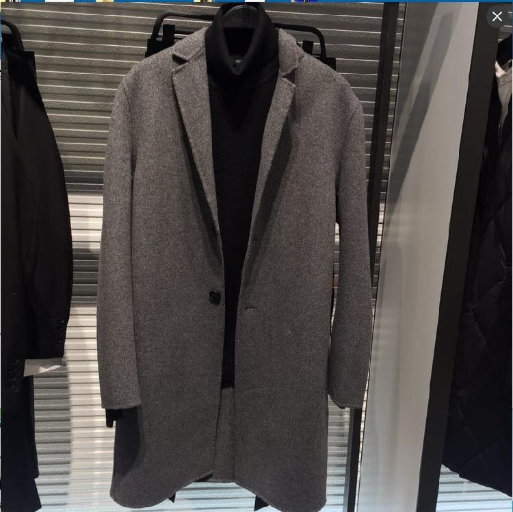 圣迪太平鸟冬季双面羊绒呢子大衣男中长款毛呢外套男士羊毛呢大衣