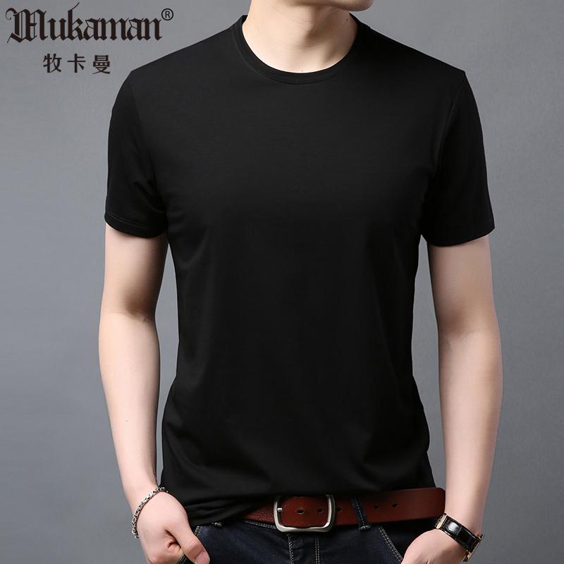 短袖T恤 男夏季半袖纯棉体桖衫纯色净版无领t桖纯黑全白园领丅裇