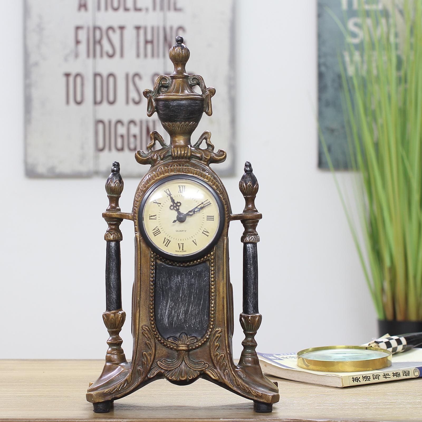 欧式钟表客厅时钟摆件大号坐钟复古仿铜金色座钟美式仿古台钟包邮 Изображение 1