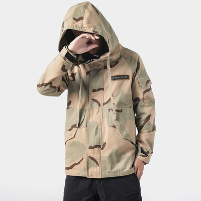 Desert camouflage jacket mens Trend Sports Blazer spring and autumn versatile outdoor Hooded Jacket lovers clothing trend