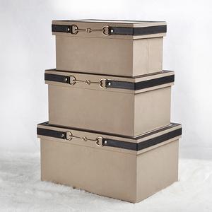 软装饰品衣帽间皮质收纳箱收纳盒储物盒样板房简约摆件灰色橙蓝