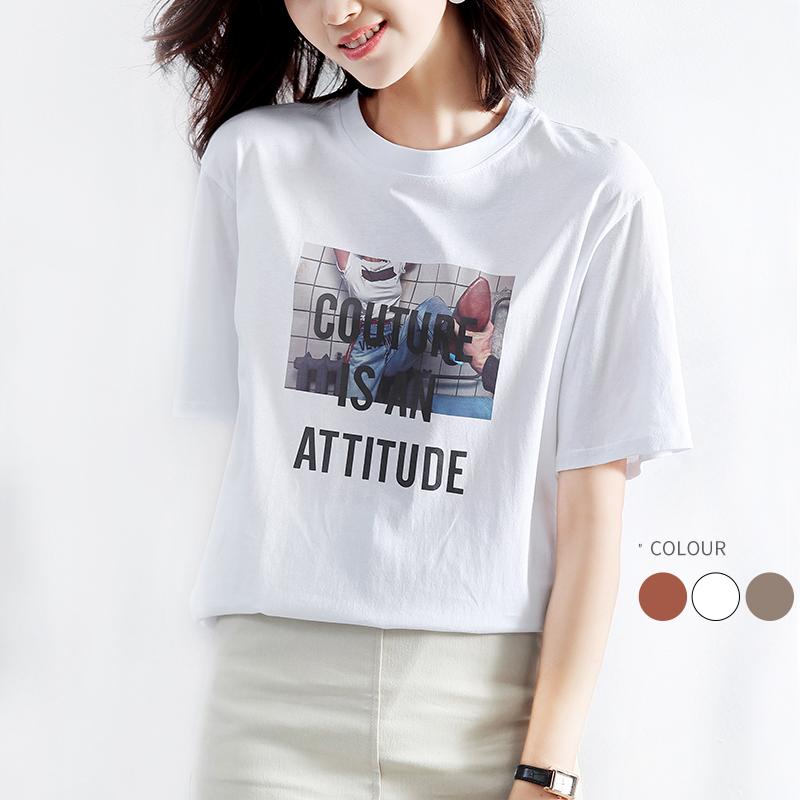 白色纯棉短袖t恤女2021年新款夏季宽松印花网红体恤ins潮超火上衣