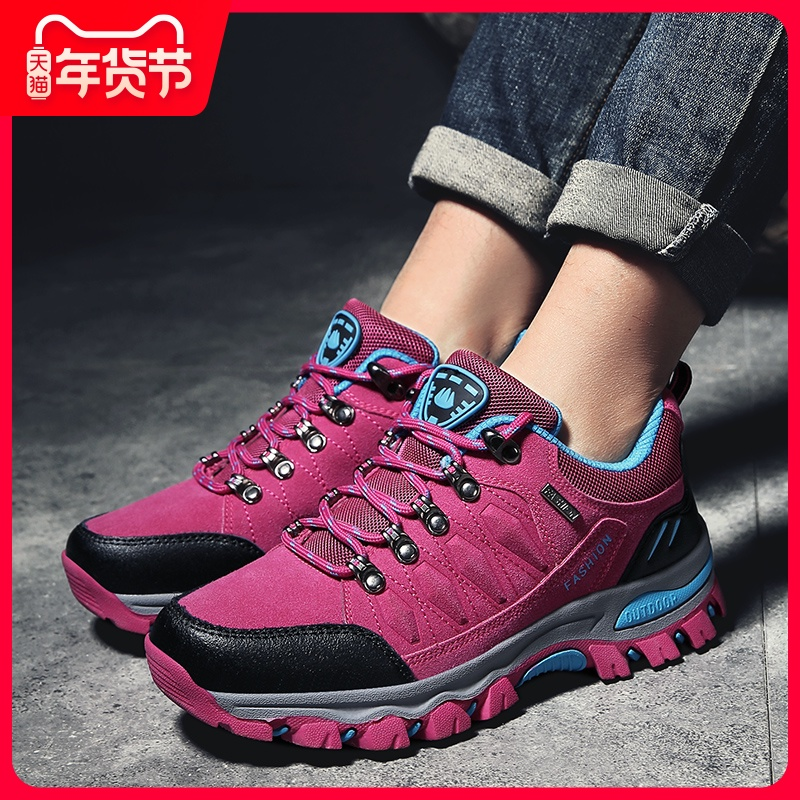 2020 spring and autumn outdoor waterproof hiking shoes one man and one woman walking walking shoes
