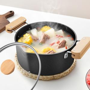 不锈钢汤锅双耳加厚熬汤不粘锅家用煮汤燃气通用电磁炉专用煮锅锅