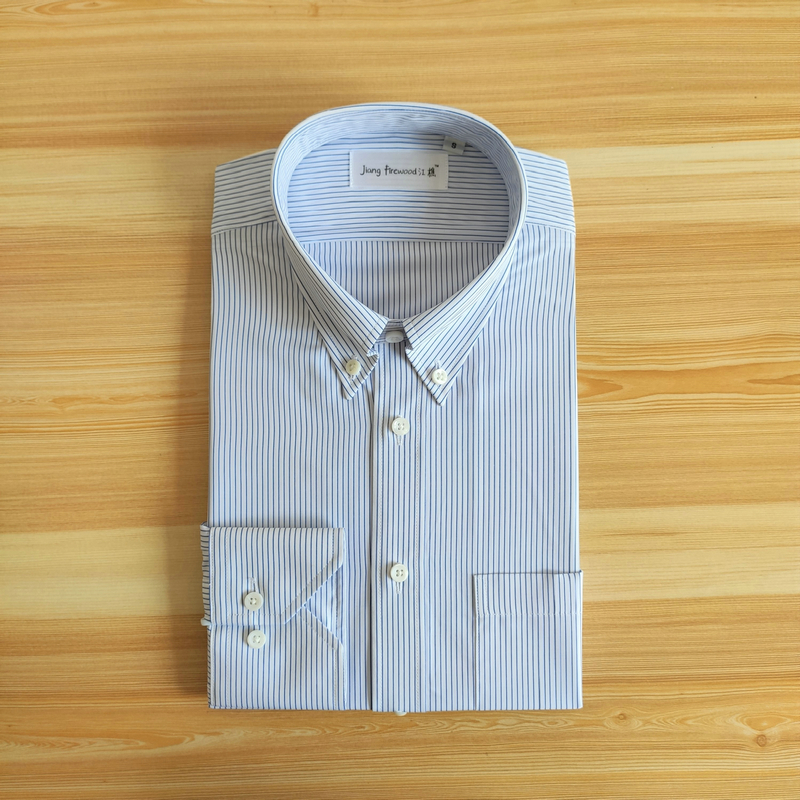 Jiang firewood Jiangqiao American polo collar shirt blue White Pinstripe mens leisure business long sleeve summer