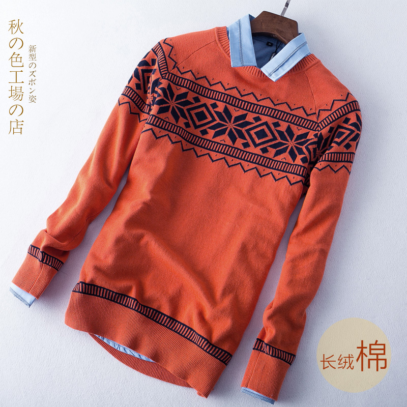 Autumn and winter 2016 new sweater youth printed t-shirt mens Korean round neck Pullover slim sweater