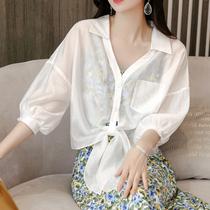 防晒衣女白衬衫夏季薄款上衣外搭设计感宽松系带防晒衫吊带裙披肩