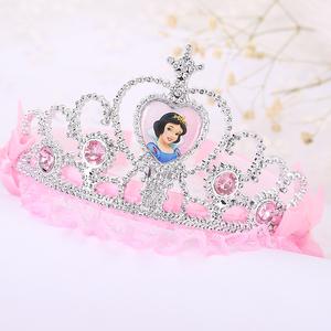 公主头饰皇冠儿童立体花朵蕾丝眉心坠发饰小女孩表演道具水钻发箍