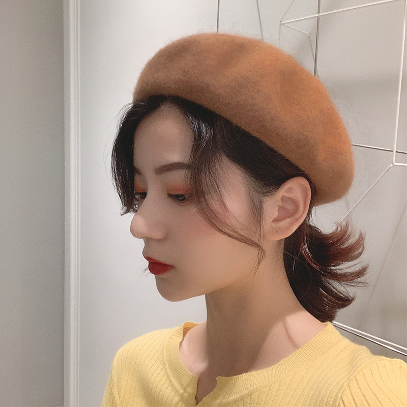 Japanese versatile Beret womens autumn and winter Korean fashion woolen cloth student hat British retro pumpkin bud hat