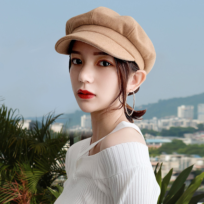 Net red Korean Beret autumn and winter new British octagonal hat fashion Japanese versatile bud duck tongue hat