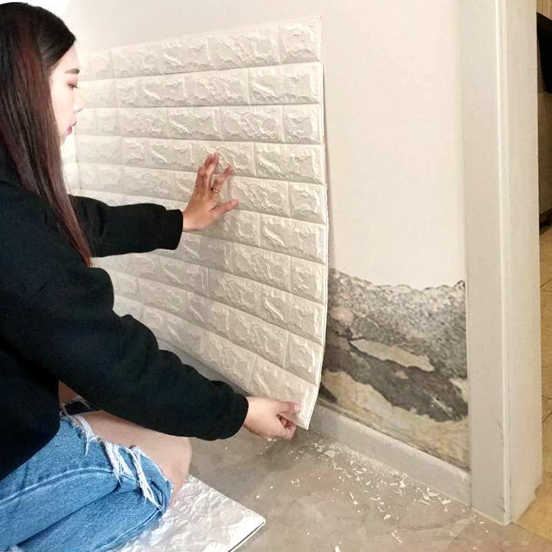 自粘3d立體牆貼磚紋防潮防霉貼紙牆裙翻新防水泡沫軟包防撞牆壁紙