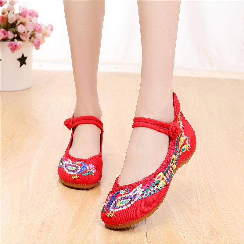 春夏季新款古風漢服內增高民族風老北京繡花古裝布鞋廣場舞蹈鞋女