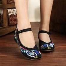 中国风秋冬新款牛筋底坡跟老北京绣花汉服布鞋民族风广场舞女鞋