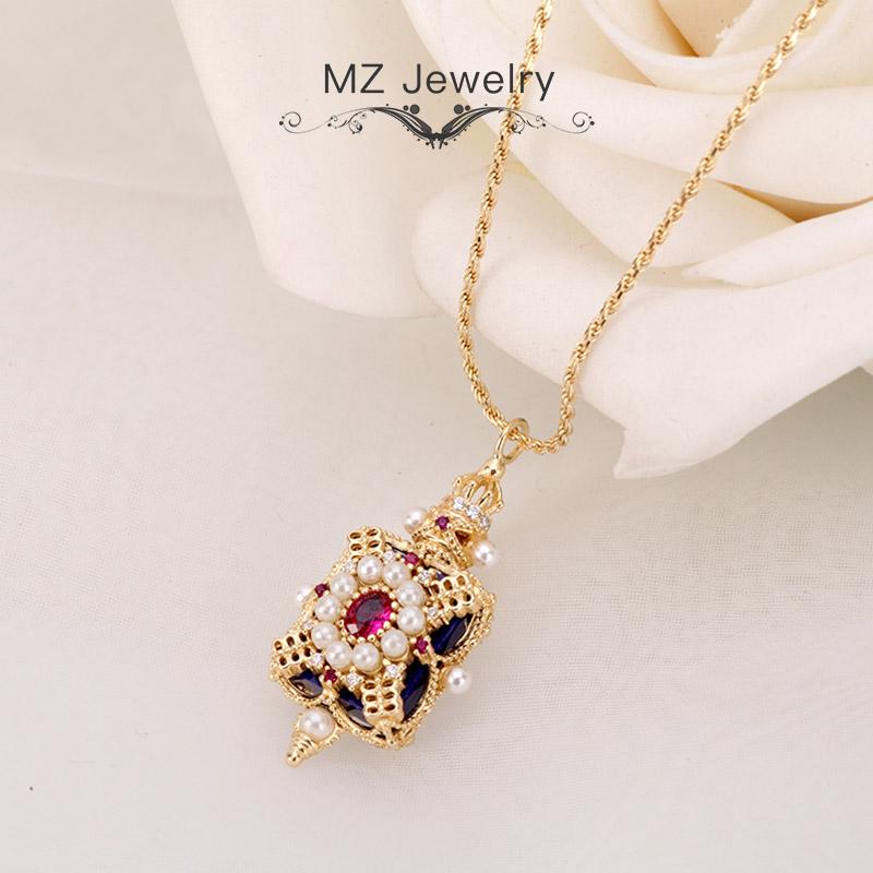 麦姿珠宝原创新品香水瓶宝石925银锁骨项链小众设计吊坠时尚饰品