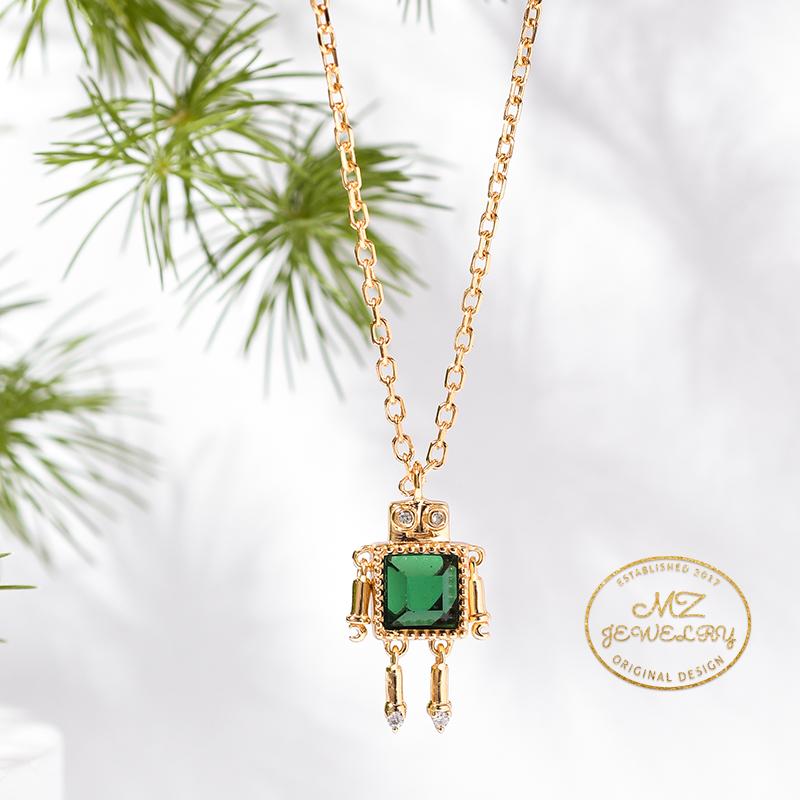 麦姿原创设计小众守护机器人s925纯银宝石项链女友生日礼物锁骨链