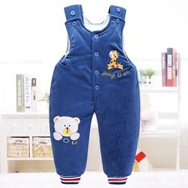 婴儿保暖背带裤加绒加厚男女宝宝背带棉裤新生儿童外穿开裆秋加厚