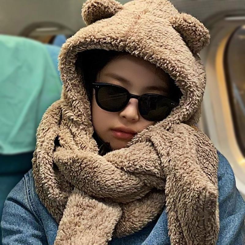 韩版帽子围巾手套三件套女双层加厚保暖围脖套帽学生儿童一体