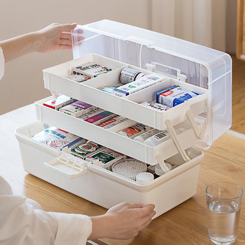 Plastic portable family storage medicine box household emergency medical box size health care box custom printed logo