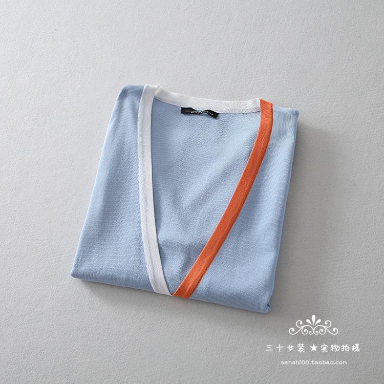 新锐设计师!折D3280!设计感撞色提花清新浅蓝色长袖针织开衫女