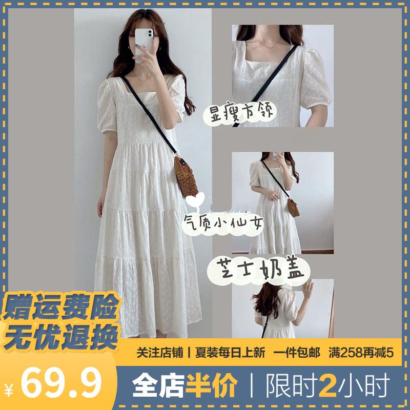 白色连衣裙子茶歇法式初恋2021长裙