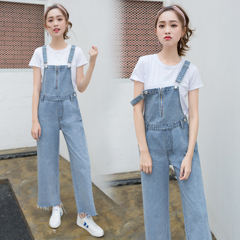 Spring and autumn new wash simple loose size Wide Leg Denim suspenders womens suspender Jumpsuit