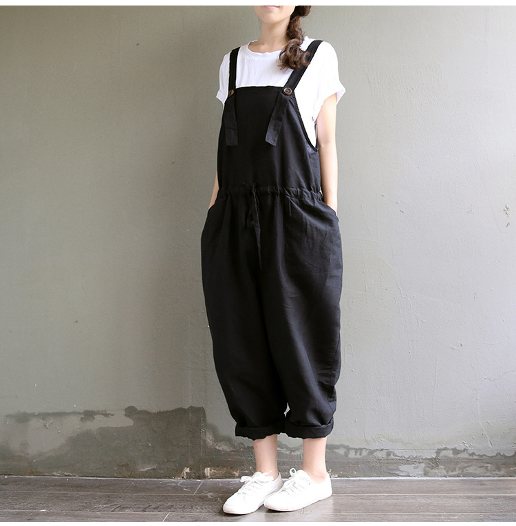 Spring and summer oversized womens loose large casual cotton hemp SUSPENDERS PANTS fat sister conjoined pants Suspenders