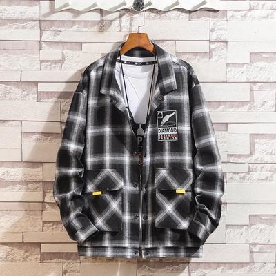 2019春季新品日系 复古宽松长袖格子衬衫男CS17P55 聚酯纤维100%
