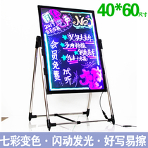 Light Vision fluorescent Blackboard Billboard luminescent Board Advertising Board screen led WordPad Small publicity display luminescent word outdoor charging with lamp milk tea nail Shop door color Suspension type